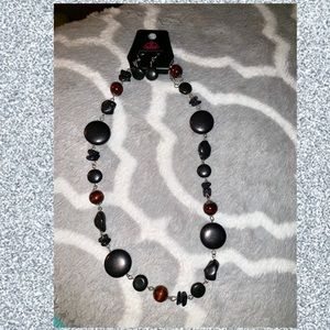 Brown and black stone necklace and earring set